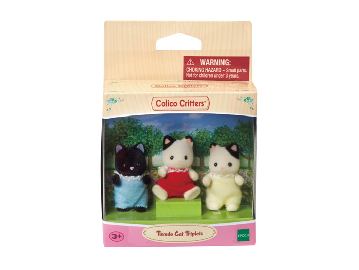 Calico Critters TUXEDO CAT TRIPLETS Dolls Figures CC9542 Epoch New in Box